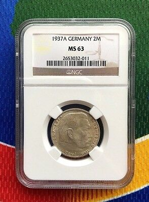 NGC MS 63 1937 A  WWII 2 Mark SILVER German Third  Reich Coin 5*