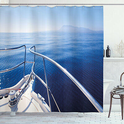 Sailing Boat Yacht in the Sea View Luxury Lifestyle Art Image Shower Curtain Set