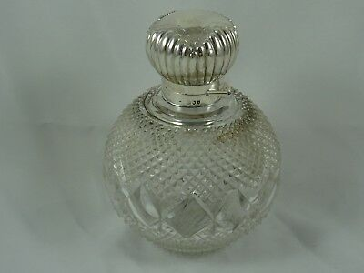 LARGE silver topped VICTORIAN SCENT BOTTLE, 1893