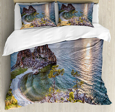 Travel Duvet Cover Set with Pillow Shams Shaman Rock Russia Print