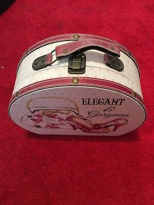 Elegant & Gorgeous Hat/Storage Box, Used, Clip Fastening, White, Pink