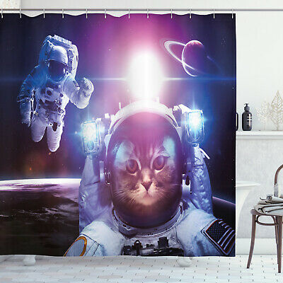 Space Cat Shower Curtain Galaxy Eclipse Saturn Print for Bathroom