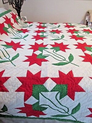1980's Vintage Amish Handmade Christmas Quilt - Red & Green - From Pennsylvania!