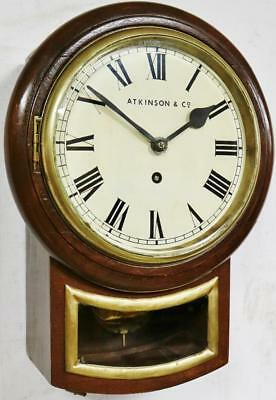 Vintage Drop Dial Wall Clock Oak Case Single Fusee 8 Day Station Public Clock