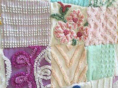 Vintage Chenille  Bedspread/ Quilt ~handmade~so many flowers ~ very soft ~ A++