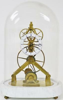 Vintage English Skeleton Clock  8 Day Great Wheel Single Fusee Under Glass Dome
