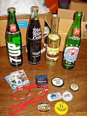 Collectible Soda Bottles & Ad Magnets, Cards & Pins 7-UP,DR Cola Bud Lite