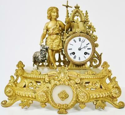 Antique French Mantel Clock 8 Day Bell Striking Gilt Spelter Farmer Boy Clock