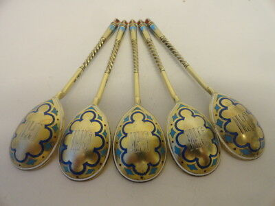 "5 antique Russian silver 88 champleve enamel spoons by Ivan Khlebnikov 5.6"" 126g"