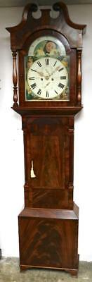 Antique C1820 English Mahogany Longcase Grandfather Clock 8 Day Moonroller Dial