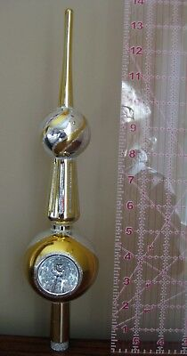 Vintage Hand Painted Mercury Glass Christmas Tree Topper - Silver & Gold