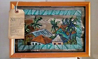 African Village Houses oil painting on rusty Tin Roof ethnic landscape floral