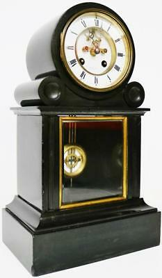 Antique French Slate & Glass Mantel Clock 8 Day Regulator Visible Escapement
