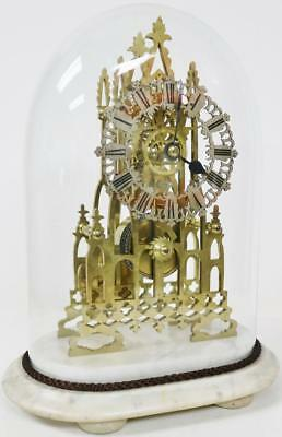 Antique English Skeleton Clock J Smith & Sons Gothic Single Fusee Glass Dome