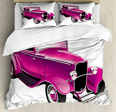 Hot Pink Duvet Cover Set with Pillow Shams Vintage Muscle Car Print