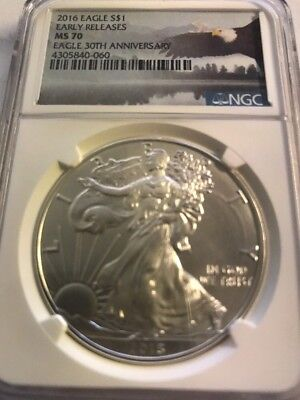 2016 American Silver Eagle $1 - NGC MS70 - Early Releases - Bald Eagle Label
