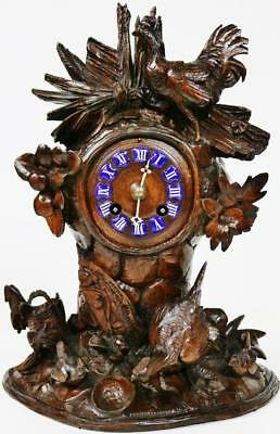 Rare Exceptional Antique 8 Day French Hand Carved Black Forest Mantel Clock