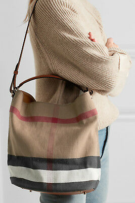 3cd553360781 NWT BURBERRY CANVAS Check Medium Ashby Hobo Shoulder Bag