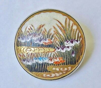 Antique 1920's Japanese Satsuma Hand-Painted Porcelain Silver Brooch Pin