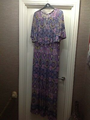 Ladies V By Very Pink & Blue Paisley Print Jumpsuit With Front Frill