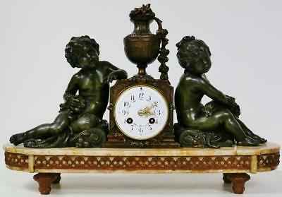 Large Antique French Mantel Clock Striking Spelter & Marble Cherub Figural 8 Day