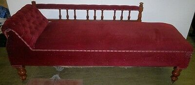 Antique Victorian Chaise Longue Upholstered  With Turned Wooden Legs On Castors