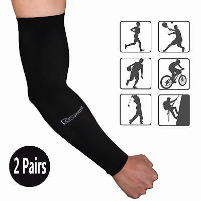 Dosmart Black Silk Uv-Protection Unisex Cooling Arm Sleeves For Outdoor Sports (