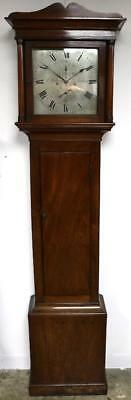 Fine C1850 English Solid Mahogany Silver Dial Waltham Longcase Grandfather Clock