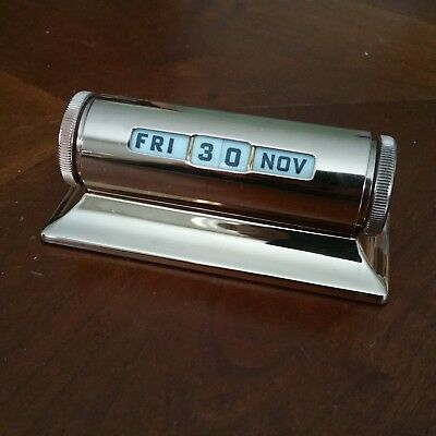 SWEET Vintage Perpetual Rotating Numeral Desk Calendar Gold Plated Finish Nice!!