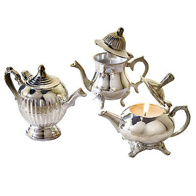 Victorian Trading Company Teapot Candles - Set of 3 Silver Plated Brass Candles