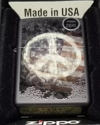 Zippo 28864 Windproof Lighter With Peace Sign On American Flag, Brass New