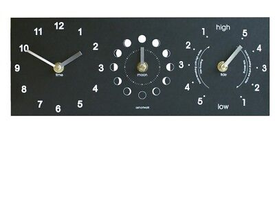 Ashortwalk Eco Black Recycled  Time, Moon & Tide Clock
