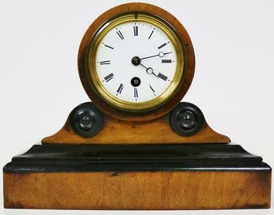 Small Antique French 8 Day Walnut & Ebonised Timepiece Drumhead Mante Clock