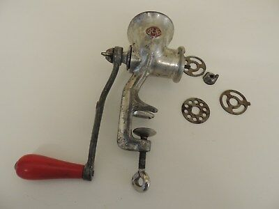 Vintage Cast Iron SPONG NATIONAL 25 Meat Mincer Grinder RED HANDLE