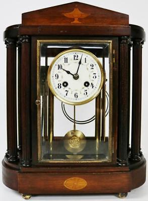 Rare Antique Junghans Mantel Clock Unusual 8 Day Mahogany 4 Glass Mantel Clock