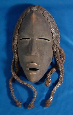 Carved African / Tribal Mask; Young Girl W/ Two Rope Braids, Narrow Eyes