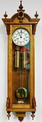 Vintage Franz Hermle Twin Weight Carved Golden Oak Slimline Vienna Wall Clock