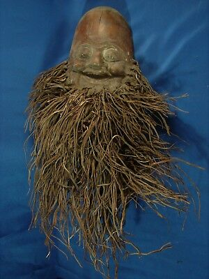Asian / Oriental Carved Bamboo Root Mask; Long Scraggly Beard