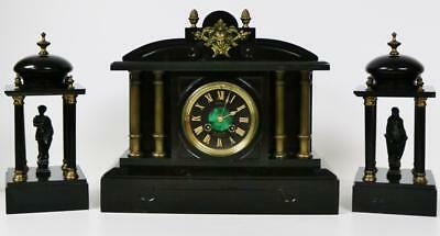 Antique French Slate Marble Mantel Clock 8 Day Architectural Design Clock Set