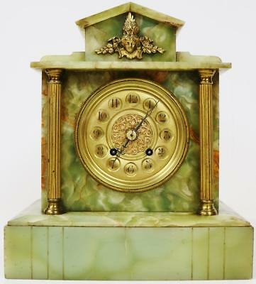 Antique French Green Onyx Mantel Clock 8 Day Architectural Designed Table Clock