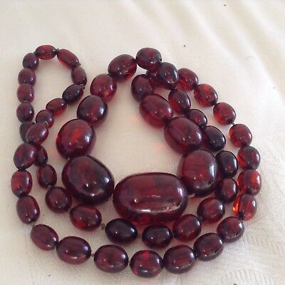 "ART DECO CHERRY RED AMBER BAKELITE BEAD NECKLACE 108 grms 34""/86 cm long tested"