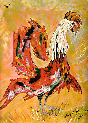 """Evel Knievel """"Signed"""" Lithograph """"Red Rooster"""""""
