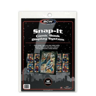 (5) Bcw Snap-It Comic Book Wall Display Panel Sleeve Holder Protectors