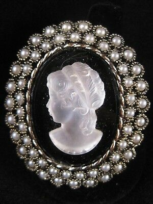 Vintage Mother of Pearl Cameo with Faux Pearls