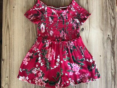 Next Girls Summer Holiday Red Floral Playsuit age 6 years