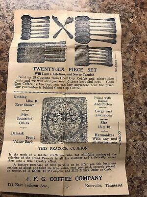 Vintage Paper Insert Coupon JFG Coffee Knoxville Tennessee