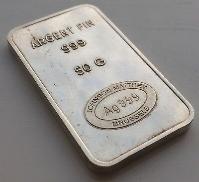 Extremely Rare Vintage Johnson Matthey Brussels 50G Silver 999 Bar