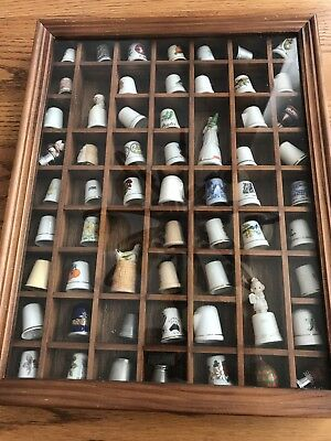 59 Vintage Thimbles With Wood  Case A-30