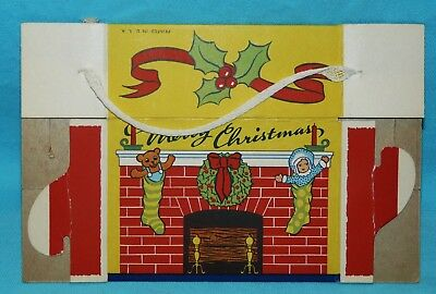 Vtg~Xmas CARDBOARD CANDY BOX~Container~TOYS~STOCKINGS on MANTEL~Fireplace~No 8