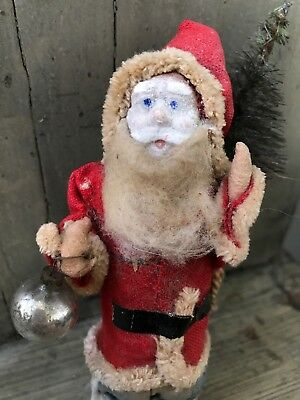 "Antique Christmas Santa Claus 5"" Composition Face Straw Body W/ Sack Tree Orname"